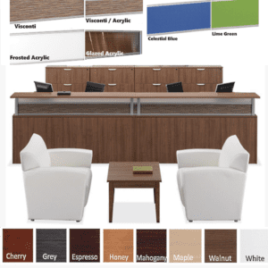 Borders Team Large U-Shape Reception Desk for Two - 24 Deep Rectangular Interior - Walnut - Rectangular Top - 8 Colors & 5 Sizes