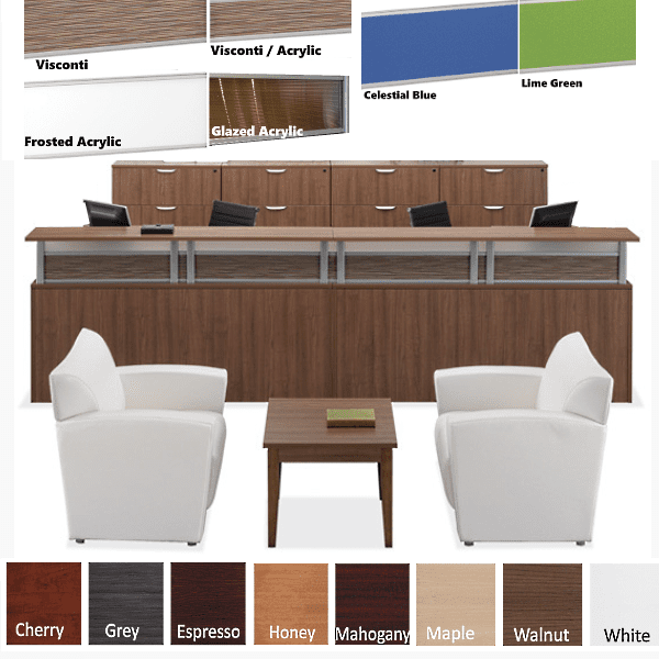 Borders Team Large U-Shape Reception Desk for Two - 24 Deep Rectangular Interior - Walnut - Rectangular Top - 8 Colors