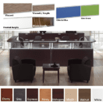 Borders Team Large U-Shape Reception Desk for Two - Espresso - 8 Colors