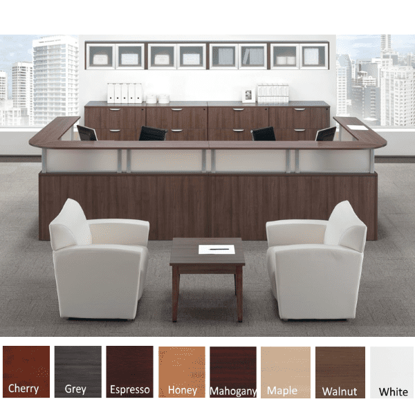 Borders Team Large U-Shape Reception Desk for Two - Walnut - 8 Colors
