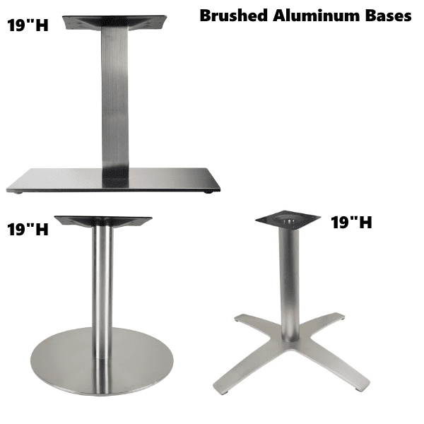 Brushed Aluminum Bases - Round Square & Prong