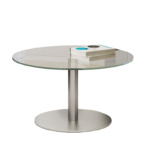Office Source Clear Glass Round End Table