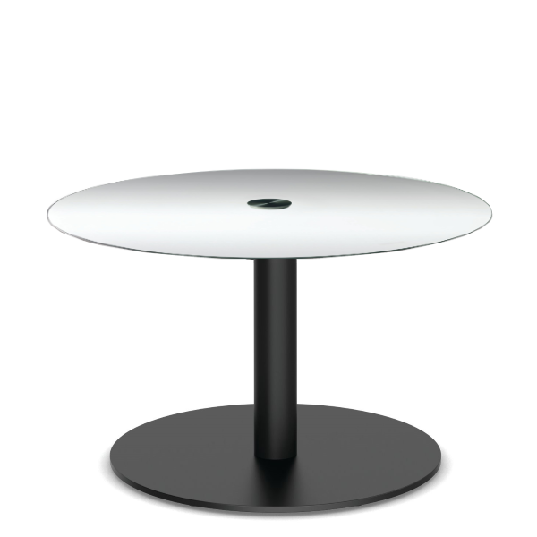 Office Source Clear Glass Round End Table with Matte Black Disc Base