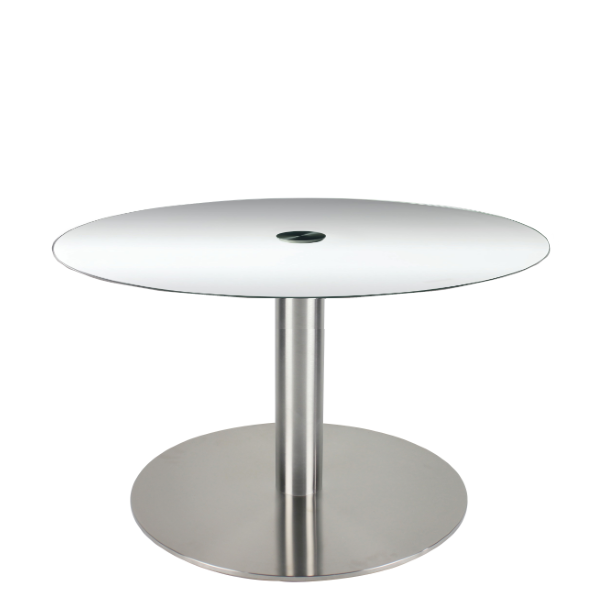 COE Glass Reception Table - silver disc base