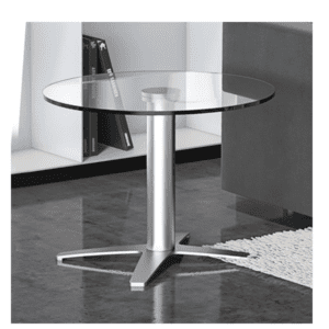 Coffee Height Base Glass Round - Silver X Base
