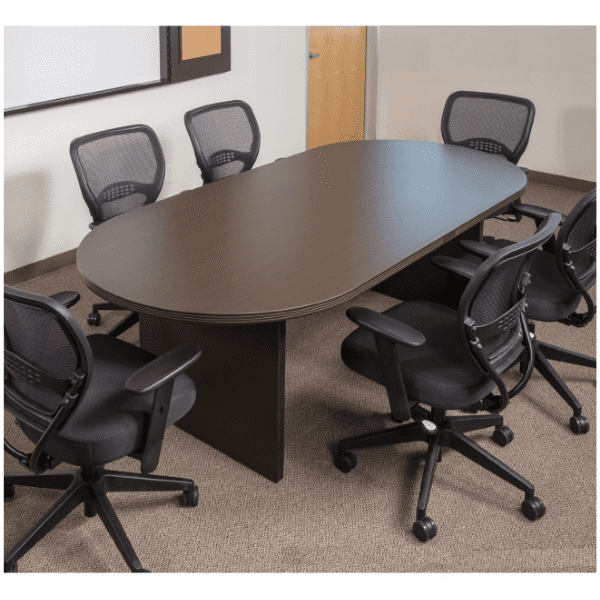 Napa 8 Feet Oval Shape Conference Table - Espresso - Mesh Chairs