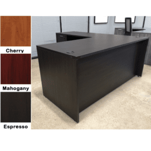 Nexus L-Shaped Desk - Espresso - Left Return - 2 Full Pedestals - Showroom - 3 Colors