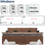 Office Source 2D PL 24D Borders XL Reception Desk with Transaction Counters