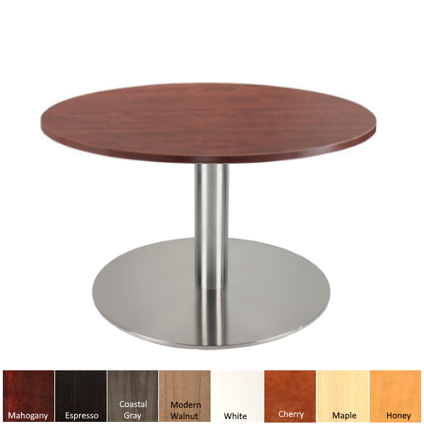 Round End Table - Round Occasional Table with Silver Round Base