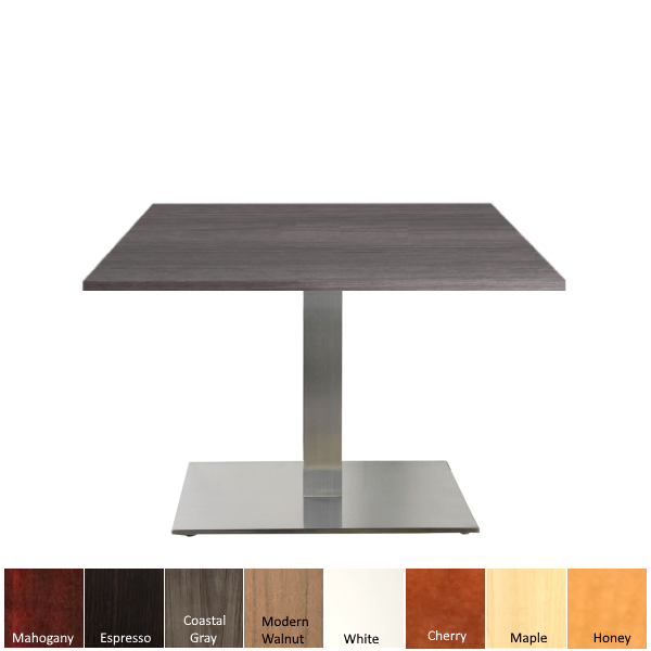 Square occasional table with silver square base