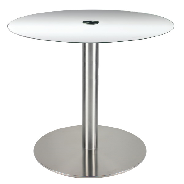 "36"" Round Glass Top Bar Height Table with Disc Base"