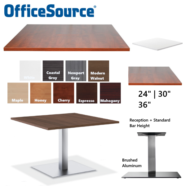 Square Table Finishes and Sizes - Square Silver Aluminum Base