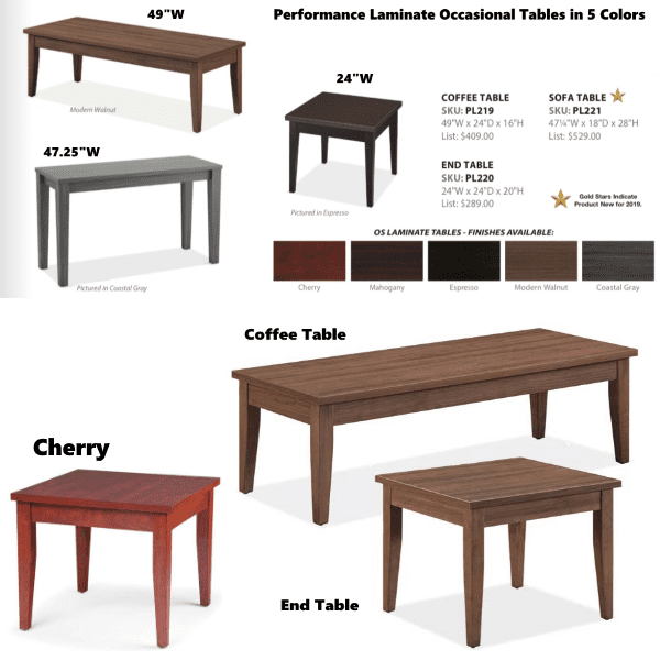 Performance Laminate Occassional Tables - Available in 5 Colors