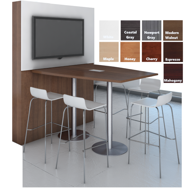 Performance Laminate Boat Shape Conference Table Standing