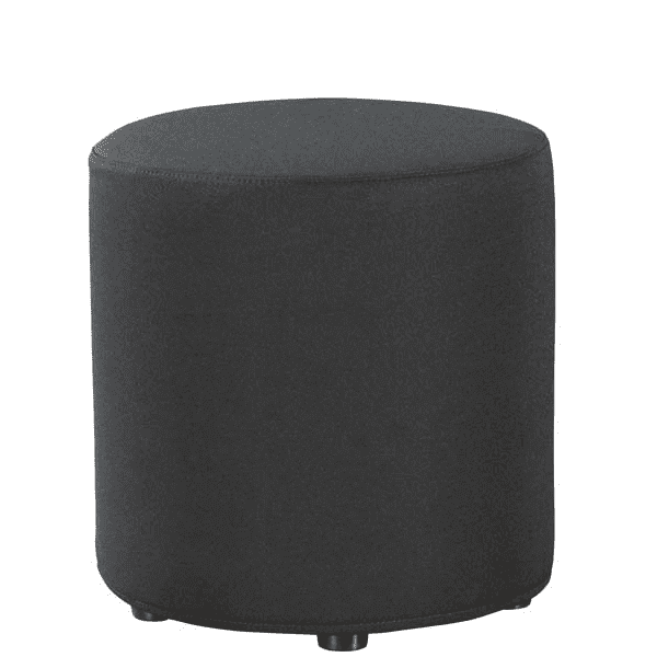 Shapes Collection - Cylinder Ottoman - Black Fabric