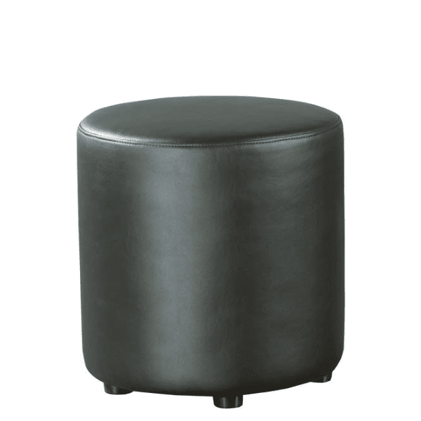 Shapes Collection - Cylinder Ottoman - Bonded Black Leather