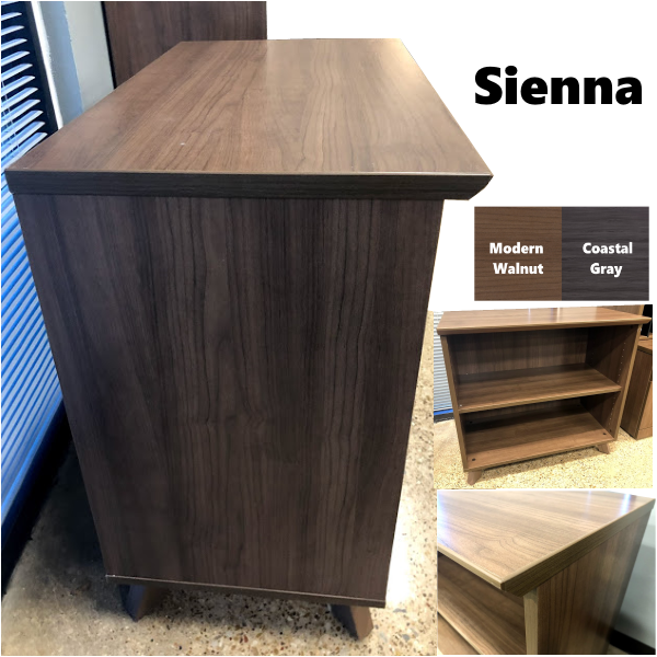Sienna Bookcase Side View and Finishes