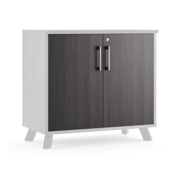 Sienna 29 Inch Tall 2-Shelf Storage Cabinet - Coastal Gray Doors
