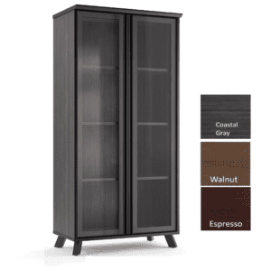Sienna 4-Shelf Storage Glass Doors Bookcase - Coastal Gray - 3 Colors