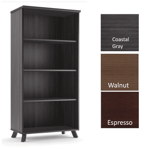 Sienna 65 Inch Tall 4-Shelf Bookcase - Coastal Gray - 3 Color Finishes - Stocked