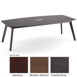 Sienna 8 Feet Boat Shape Conference Table with Power Cutout - Coastal Gray Finish