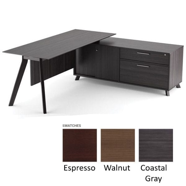 Sienna L-Shape Benching Desk - Cabinet 2 Sliding Doors with 2-Drawer Box - File Cabinet Combo - Coastal Gray - Right Hand