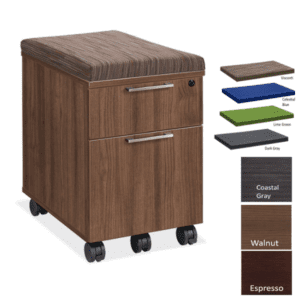 Sienna Mobile 2-Drawer Box File Storage Pedestal Cabinet - Walnut - 3 Colors - Visconti Top Cushion