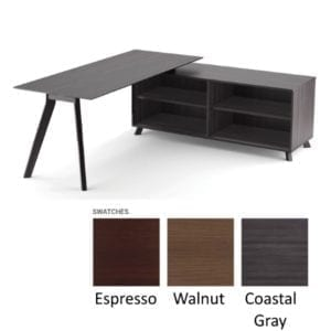 Sienna Open Cabinet Benching L-Shape Desk - Coastal Gray - 3 Color Finishes - Right Handed