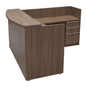 Status Walnut Reception Desk - Right