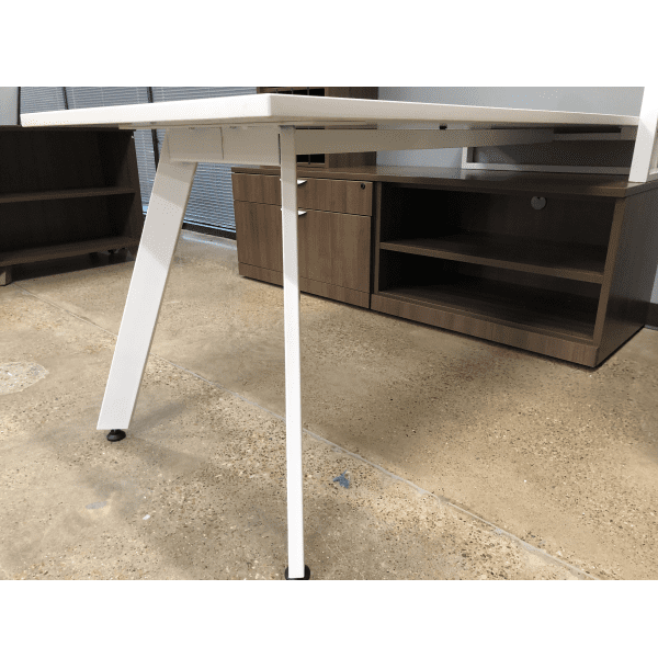 V Leg Benching Desk Workstation - Chassis View - Walnut with White V Legs