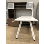 V Leg Benching Desk Workstation - Walnut with White V Legs - Two Glass Doors - Surface