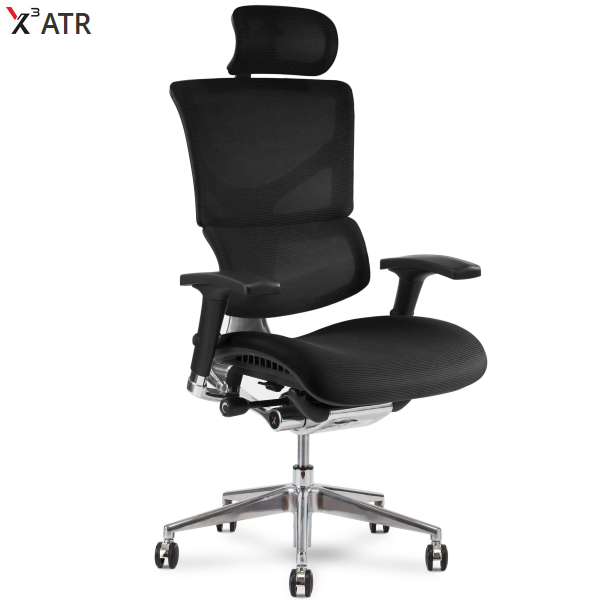 X3 Chair in Black Mesh with Headrest