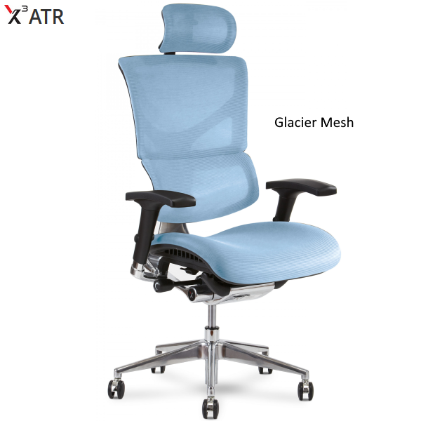 X3 Management Chair in Glacier Mesh with headrest