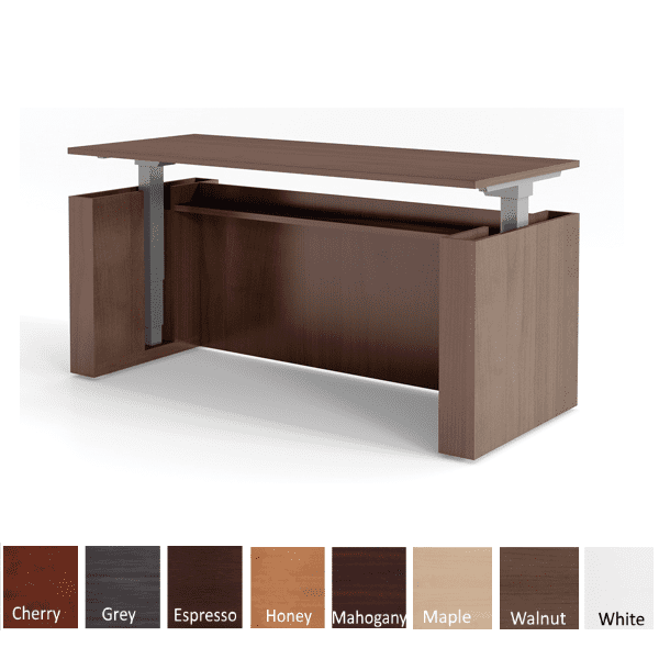 Adjustable Height Panel End Desk - Electrical 2 Motor 3-Stage Legs - Walnut Finish - 8 Colors