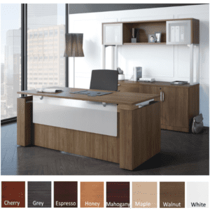 Adjustable Height Panel End Desk with Acrylic Front Panel Option