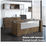 Adjustable Height Panel End Desk with Acrylic Front Panel Option Shown