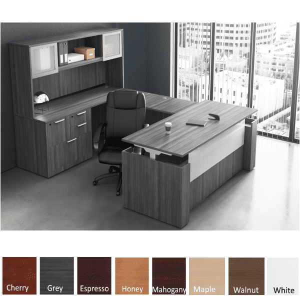 Adjustable Height Panel End U-Shape Desk - Left Hand - Electrical Power Base - Coastal Gray Finish Color - 8 Finish Colors Stocked