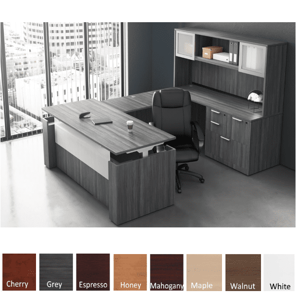 Adjustable Height Panel End U-Shape Desk - Righted Hand - Electrical Power Base - Coastal Gray Finish Color - 8 Finish Colors Stocked