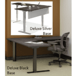 Adjustable Height Standing Desk - Black or Silver - Curvilinear Worksurface - Seated Position - 8 Colors