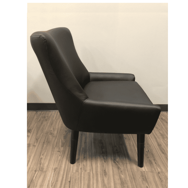 Black Barrel Back Reception Chair with Black Legs - Side View
