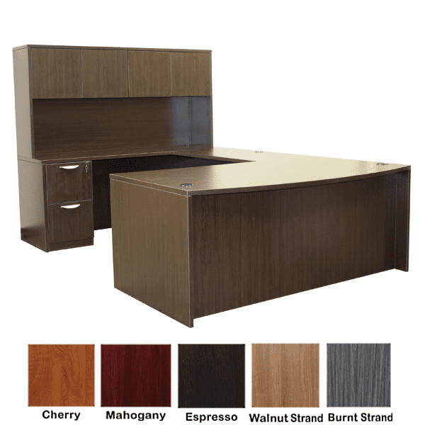 Bow Front U-Shape Desk with Hutch - Espresso - 5 Colors