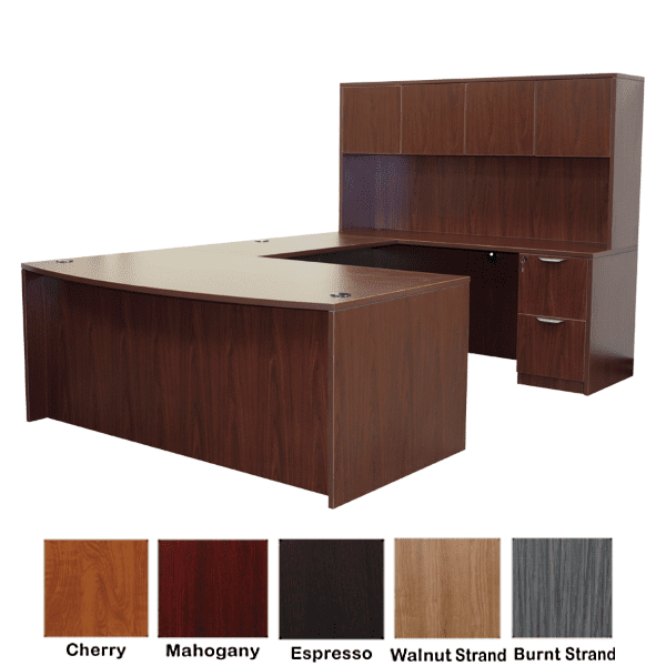 Bow Front U-Shape Desk with Hutch - Right Handed - Mahogany - 5 Colors