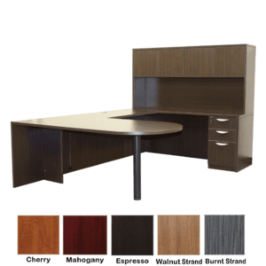 Bullet Front U Shaped Desk with Hutch - Right Handed