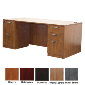 Cherry Double Pedestal Desk - 5 Colors