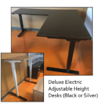 Deluxe Adjustable Height Electrical L-Shape Desk 2 Motor 3-Stage Legs -Black or Silver - 8 Finish Colors
