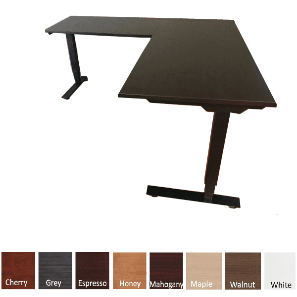 "30""D Deluxe Adjustable Height Electrical L-Shaped Desk - Espresso Top - 2 Motor 3-Stage Legs - Black - 8 Colors"