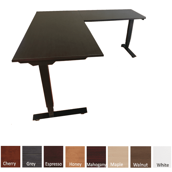 Deluxe Adjustable Height Electrical L-Shaped Desk - Espresso Top - 2 Motor 3-Stage Legs - Right Handed - Black - 8 Colors