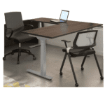 Deluxe Adjustable Height Electrical L-Shaped Desk - Walnut Top - 2 Motor 3-Stage Legs - Left Handed - 8 Colors