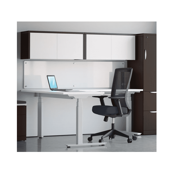 Deluxe Adjustable Height Electrical L-Shaped Desk - White Top - 2 Motor 3-Stage Legs - 8 Colors
