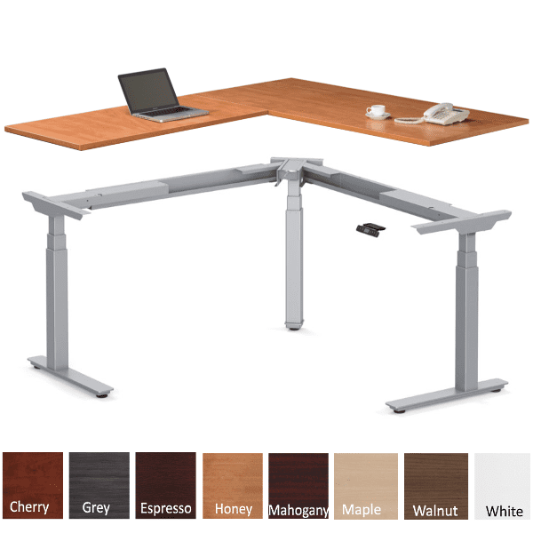 Deluxe Electric Height Adjustable L Shaped Desk - Honey - 8 Finish Colors